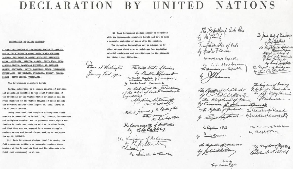 中苏美英等26国签署《联合国家共同宣言》