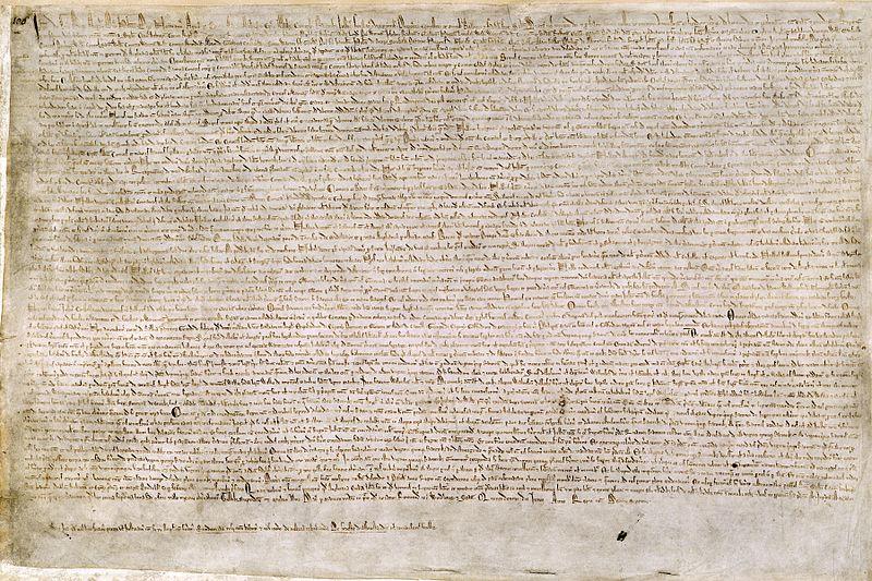 英格兰国王约翰在贵族的胁迫下,签署《大宪章》——国王权利被削弱